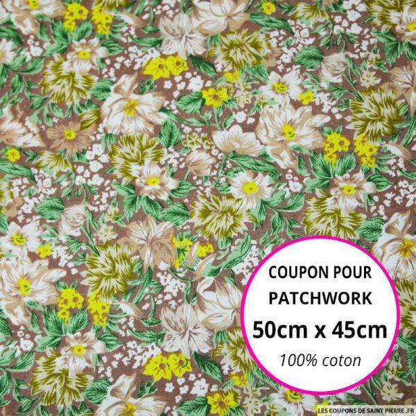 Coton imprimé fleurs marron et jaune Coupon 50x45cm