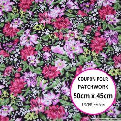 Coton imprimé fleurs noir et rose Coupon 50x45cm