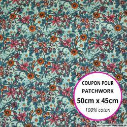 Coton imprimé fleurs orange et vert canard Coupon 50x45cm