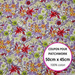 Coton imprimé fleurs violet et rouge Coupon 50x45cm