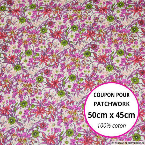 Coton imprimé fleurs verte et rose Coupon 50x45cm