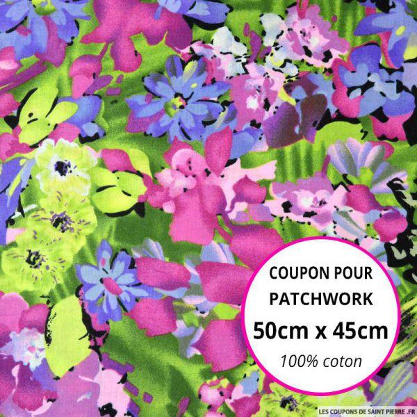 Coton imprimé exotique mauve Coupon 50x45cm