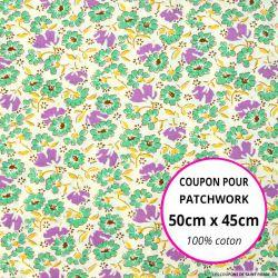 Coton imprimé marguerites vert Coupon 50x45cm
