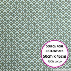 Coton imprimé éventail beige Coupon 50x45cm