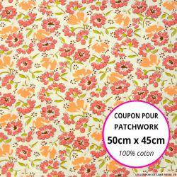 Coton imprimé marguerites rose Coupon 50x45cm