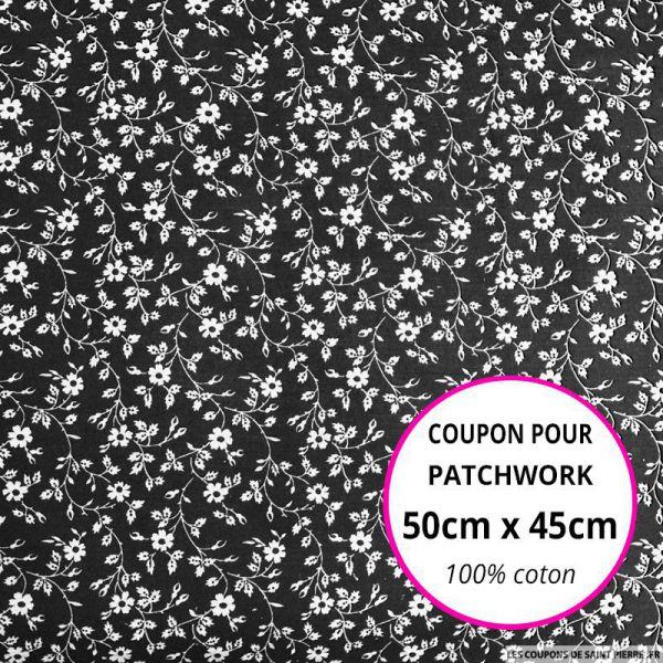 Coton imprimé fleurs blanches sur fond noir Coupon 50x45cm