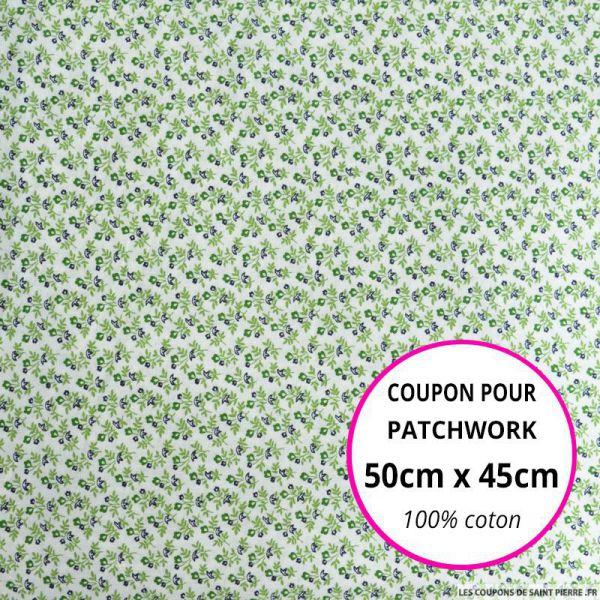 Coton imprimé bouquet de fleurs vert Coupon 50x45cm