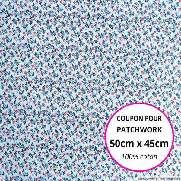 Coton imprimé bouquet de fleurs bleu et rouge Coupon 50x45cm