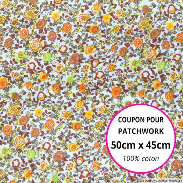 Coton imprimé bouquet de fleurs marron, orange et vert fond Blanc Coupon 50x45cm