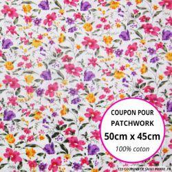 Coton imprimé bouquet de fleurs violet, rose et orange fond Blanc Coupon 50x45cm