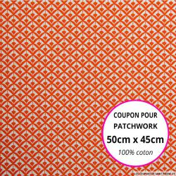 Coton imprimé éventail orange Coupon 50x45cm