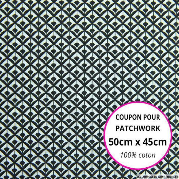 Coton imprimé éventail noir Coupon 50x45cm