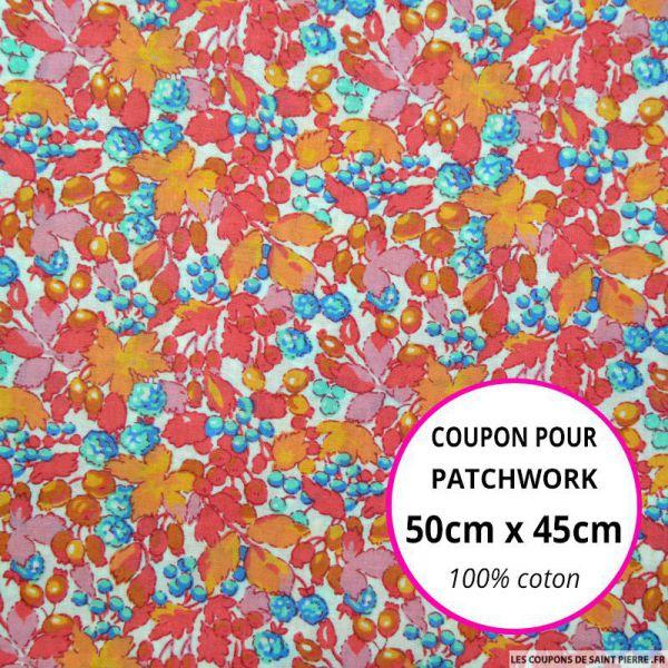 Coton imprimé fleurs roses, oranges et bleues Coupon 50x45cm