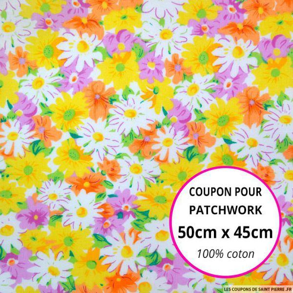 Coton imprimé fleurs jaunes, mauves et blanches Coupon 50x45cm