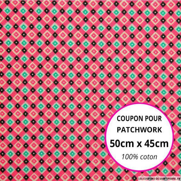 Coton imprimé quadrillage retro rose Coupon 50x45cm