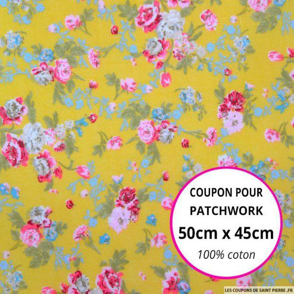 Coton imprimé fleurs rose et bleu sur fond jaune Coupon 50x45cm