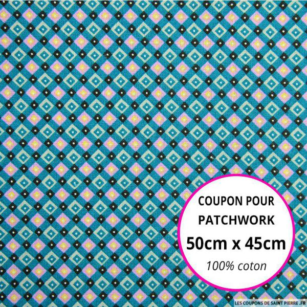 Coton imprimé quadrillage retro bleu canard Coupon 50x45cm