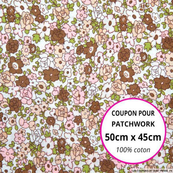 Coton imprimé fleurs roses, vertes et marrons sur fond écru Coupon 50x45cm