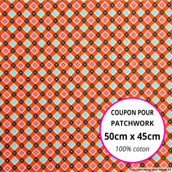 Coton imprimé quadrillage retro rouge Coupon 50x45cm