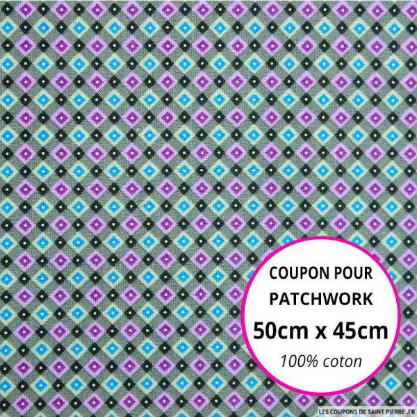 Coton imprimé quadrillage retro gris Coupon 50x45cm