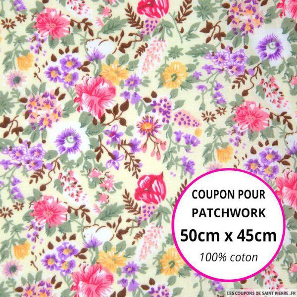 Coton imprimé fleurs roses et mauves sur fond écru Coupon 50x45cm