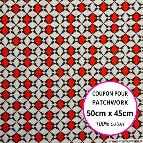 Coton imprimé losange graphique rouge Coupon 50x45cm