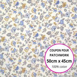 Coton imprimé fleurs bleues et jaunes sur fond blanc Coupon 50x45cm