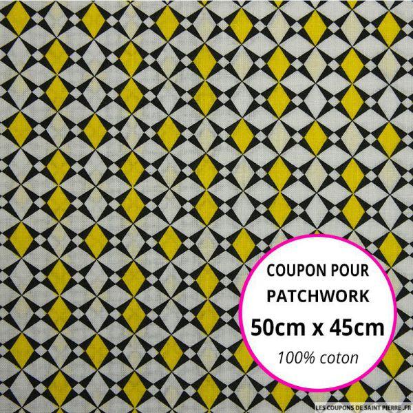 Coton imprimé losange graphique jaune Coupon 50x45cm