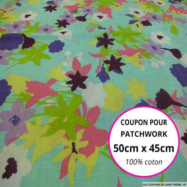 Coton imprimé fleurs multicolores sur fond bleu Coupon 50x45cm
