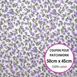 Coton imprimé fleurs violet et lilas sur fond blanc Coupon 50x45cm