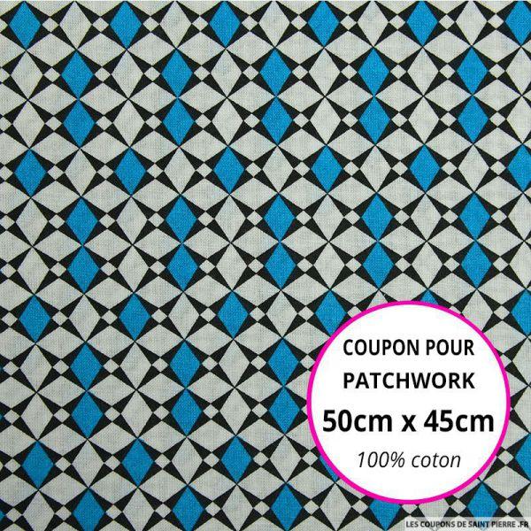 Coton imprimé losange graphique bleu Coupon 50x45cm