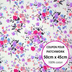 Coton imprimé fleurs sauvages Coupon 50x45cm