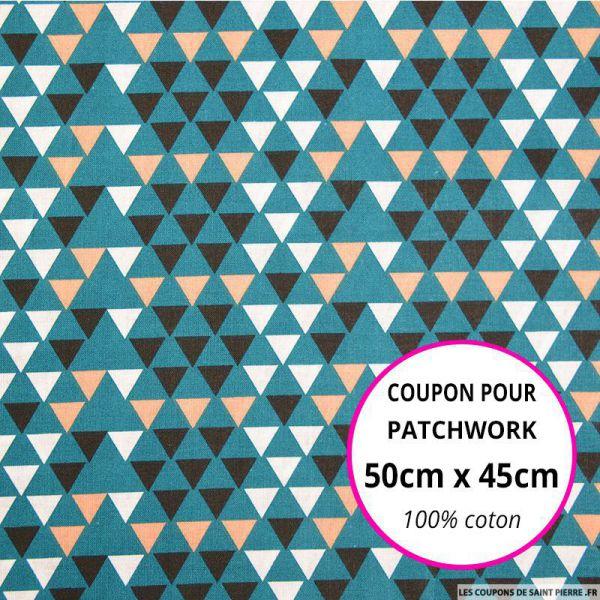 Coton imprimé triangle scandinave bleu canard Coupon 50x45cm