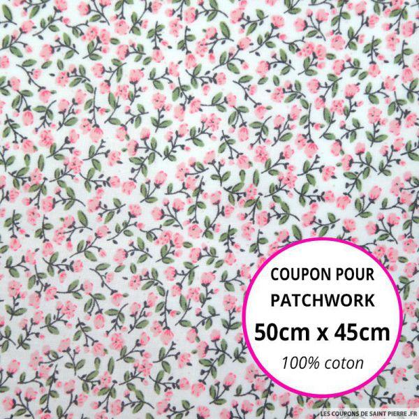 Coton imprimé fleurs roses sur fond blanc Coupon 50x45cm