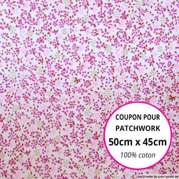 Coton imprimé fleurs fushia et beige Coupon 50x45cm
