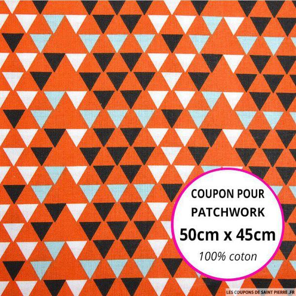 Coton imprimé triangle scandinave orange Coupon 50x45cm