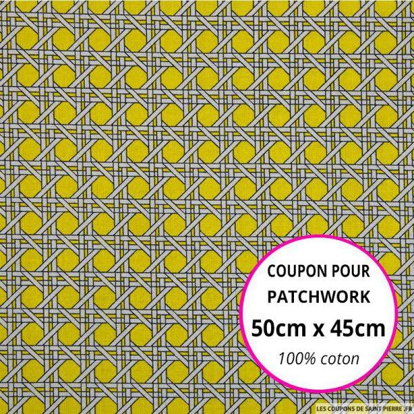 Coton imprimé cannage jaune Coupon 50x45cm