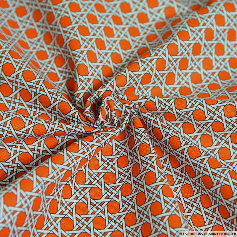 coton imprim cannage orange coupon 50x45cm. Black Bedroom Furniture Sets. Home Design Ideas