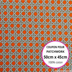 Coton imprimé cannage orange Coupon 50x45cm