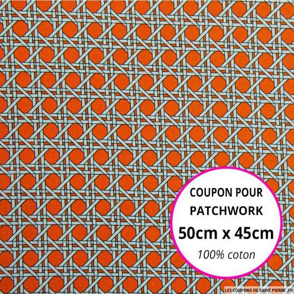 Coton imprimé cannage orange Coupon 50x45cm