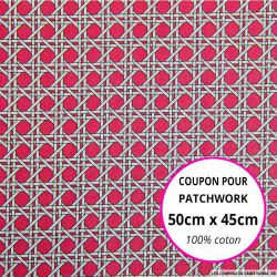 Coton imprimé cannage rose Coupon 50x45cm