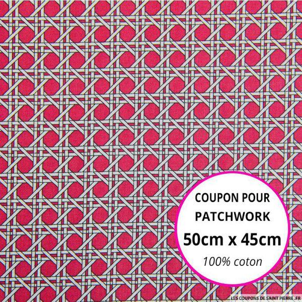 Coton imprimé cannage rose Coupon 50x45cm