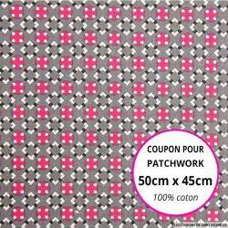 Coton imprimé graphique seventies gris Coupon 50x45cm