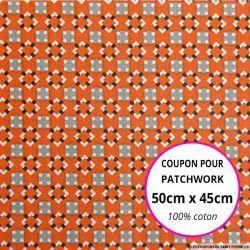 Coton imprimé graphique seventies orange Coupon 50x45cm