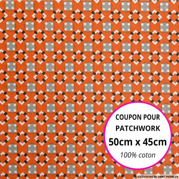 Coton imprimé graphique seventies orange 50x45cm
