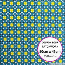 Coton imprimé graphique seventies bleu canard Coupon 50x45cm