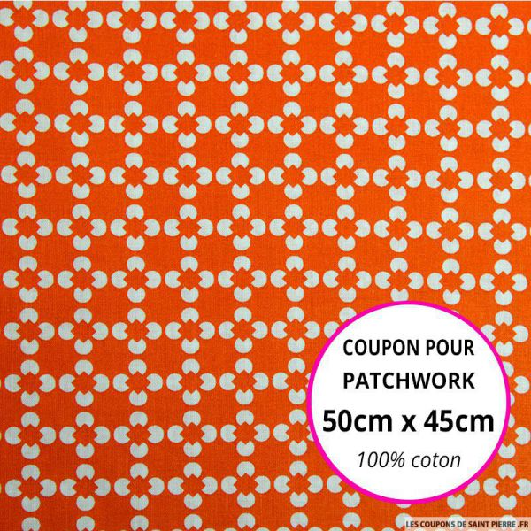 Coton imprimé fleur graphique orange Coupon 50x45cm