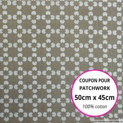 Coton imprimé fleur graphique beige Coupon 50x45cm