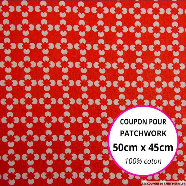 Coton imprimé fleur graphiquer rouge Coupon 50x45cm