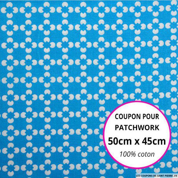 Coton imprimé fleur graphique bleu Coupon 50x45cm